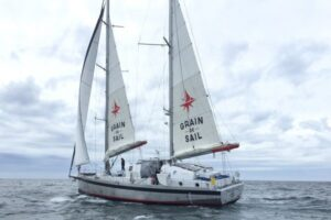 The Grain de Sail is a traditional-sail-powered vessel delivering cargo across the Atlantic.