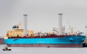 Maersk Pelican with Flettner rotors exhibits energy savings with modern sails.